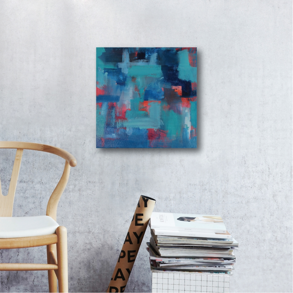 Abstract Acrylic Canvas Art - Blue Noise With A Tint Of Hope II by Charlie Albright | Moments by Charlie | Creative Abstract Artist, Photographer and Blogger | Made in Adelaide, Australia