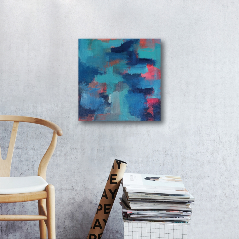 Abstract Acrylic Canvas Art - Blue Noise With A Tint Of Hope I by Charlie Albright | Moments by Charlie | Creative Abstract Artist, Photographer and Blogger | Made in Adelaide, Australia