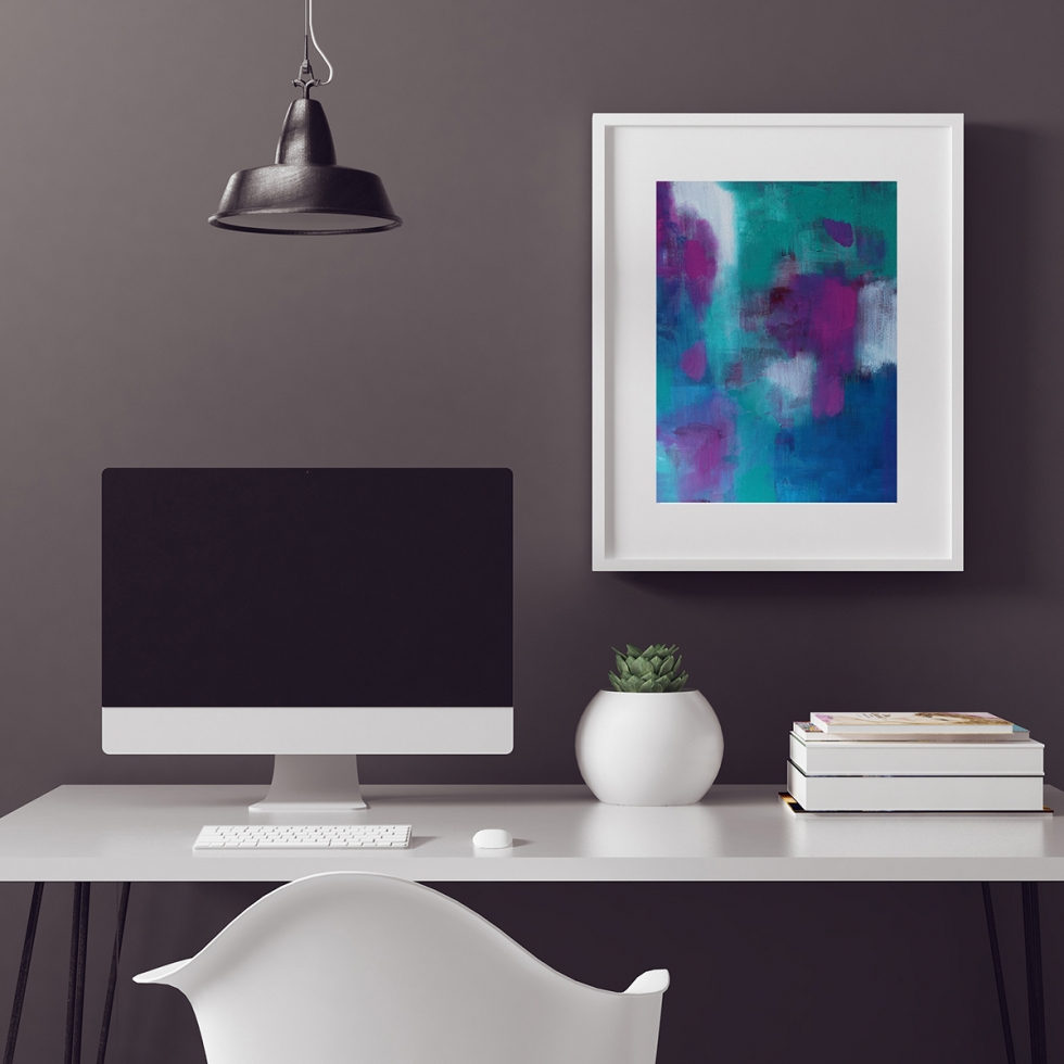 Abstract Fine Art Print - Plum Aqua Jewels 1 by Charlie Albright | Moments by Charlie | Creative Abstract Artist, Photographer and Blogger | Made in Adelaide, Australia