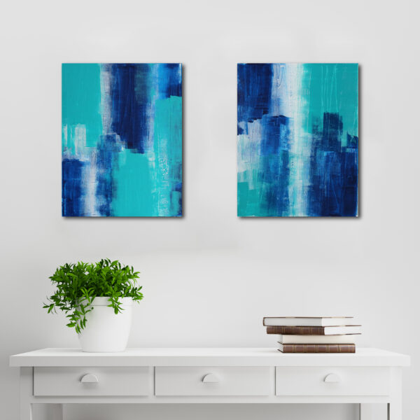 Abstract Acrylic Canvas Art - Walking On More Phthalo Blue - Two-Piece Set - by Australian abstract artist Charlie Albright | Moments by Charlie | Creative Visual Artist, Photographer and Blogger | Made in Adelaide, Australia