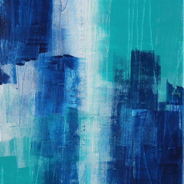 Abstract Acrylic Canvas Art - Walking On More Phthalo Blue - Two-Piece Set - Piece 2 by Australian abstract artist Charlie Albright | Moments by Charlie | Creative Visual Artist, Photographer and Blogger | Made in Adelaide, Australia