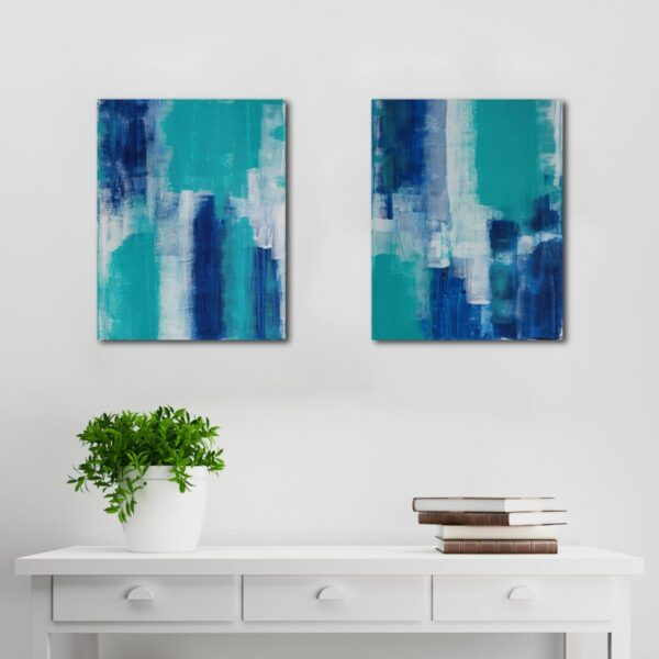 Abstract Acrylic Canvas Art - Walking On Phthalo Blue - Two-Piece Set - by Australian abstract artist Charlie Albright | Moments by Charlie | Creative Visual Artist, Photographer and Blogger | Made in Adelaide, Australia