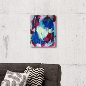 Abstract Canvas Art Titled Like Coloured Raindrops By Creative Visual Artist Charlie Albright | Glenside Art Show 2018 - Mini Exhibition - Where There's A Will, There's A Way | Moments by Charlie Online Shop | Adelaide, South Australia
