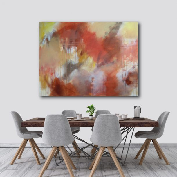 """Earthy Colours - Abstract Canvas Art Titled Apple Blossom By Adelaide Abstract Artist Charlie Albright 