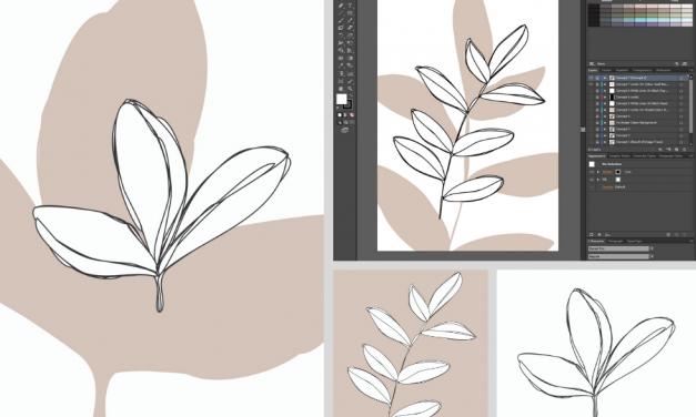 Studio Log 01 – Preparing Modern Leaf Illustration Print Design Concepts