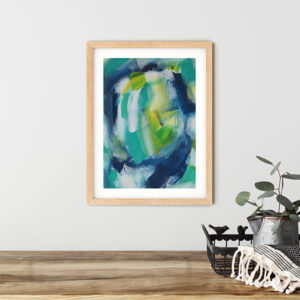 Abstract Art On Paper Titled Mountain Lake by Australian Abstract Artist Charlie Albright | Size A3 Unframed | Moments by Charlie Website - Online Shop | Adelaide, South Australia