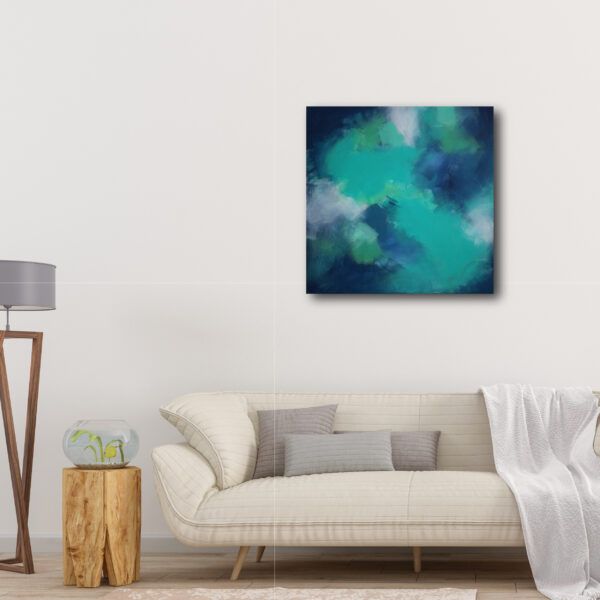 Moments by Charlie | Journey of Creative Pursuits by South Australian artist Charlie Albright. Blue canvas art titled Uptown Clouds