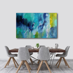Moments by Charlie | Journey of Creative Pursuits by South Australian artist Charlie Albright. Large blue and green canvas art titled New Beginnings
