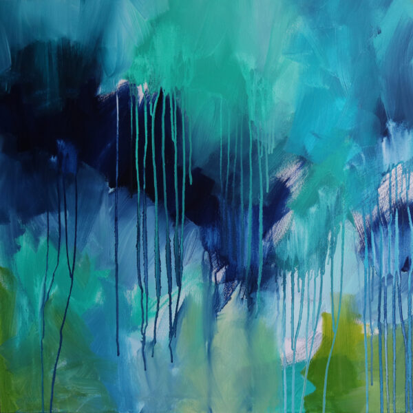 Moments by Charlie   Journey of Creative Pursuits by South Australian artist Charlie Albright. Large blue and green canvas art titled New Beginnings