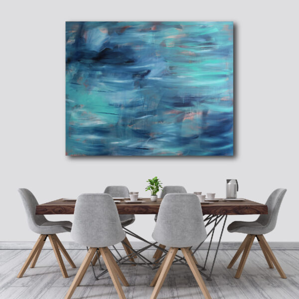 Moments by Charlie | Journey of Creative Pursuits by South Australian artist Charlie Albright. Large blue canvas art titled I'm Here Watching The Waves