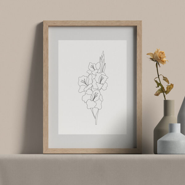 "Moments by Charlie | Journey of Creative Pursuits by South Australian artist Charlie Albright. Gladiolus Modern Flower Line Art Drawing, Illustration. Framed Fine Art Giclee Print A4 in Natural Oak Coloured 11"" x 14""x frame with matt opening 8"" x 10"""