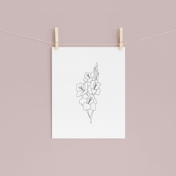 Moments by Charlie | Journey of Creative Pursuits by South Australian artist Charlie Albright. Gladiolus Modern Flower Line Art Drawing, Illustration. Unframed Fine Art Giclee Print A4