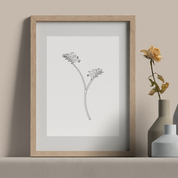 """Moments by Charlie   Journey of Creative Pursuits by South Australian artist Charlie Albright. Kangaroo Paw - Modern Flower Line Art Drawing, Illustration. Framed Fine Art Giclee Print A4 in Natural Oak Coloured 11"""" x 14""""x frame with matt opening 8"""" x 10"""""""