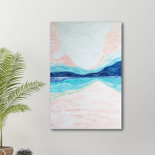 Moments by Charlie | Journey of Creative Pursuits by South Australian artist Charlie Albright. Blue, pink and green canvas art titled Imagination. It has a whimsical style as though it was created using illustration markers.