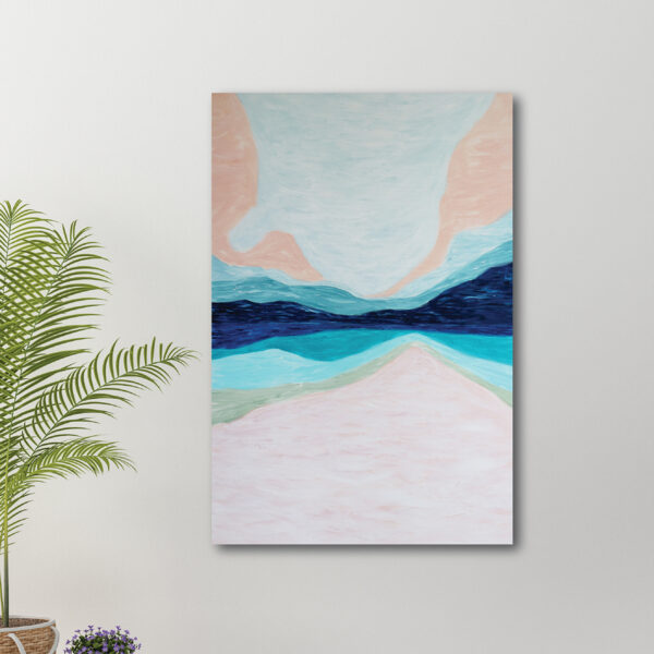 Moments by Charlie | Journey of Creative Pursuits by South Australian artist Charlie Albright. Blue, pink and green canvas art titled Imagination 2. It has a whimsical style as though it was created using illustration markers.