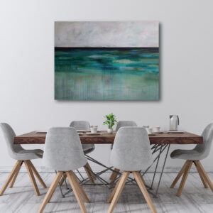 Moments by Charlie   Journey of Creative Pursuits by South Australian artist Charlie Albright. Blue and green large abstract landscape titled Moody Southern Landscape.