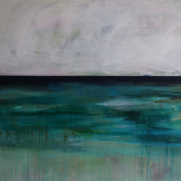 Moments by Charlie | Journey of Creative Pursuits by South Australian artist Charlie Albright. Blue and green large abstract landscape titled Moody Southern Landscape.