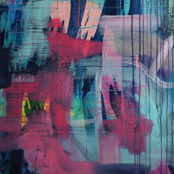 Moments by Charlie   Journey of Creative Pursuits by South Australian artist Charlie Albright. Colourful large abstract art with a street art look titled Barker St.