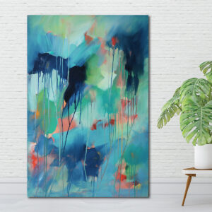 Moments by Charlie | Journey of Creative Pursuits by South Australian artist, illustrator and surface pattern designer Charlie Albright. Blue abstract artwork titled Wildly You. Available on the Moments by Charlie online shop and Bluethumb.